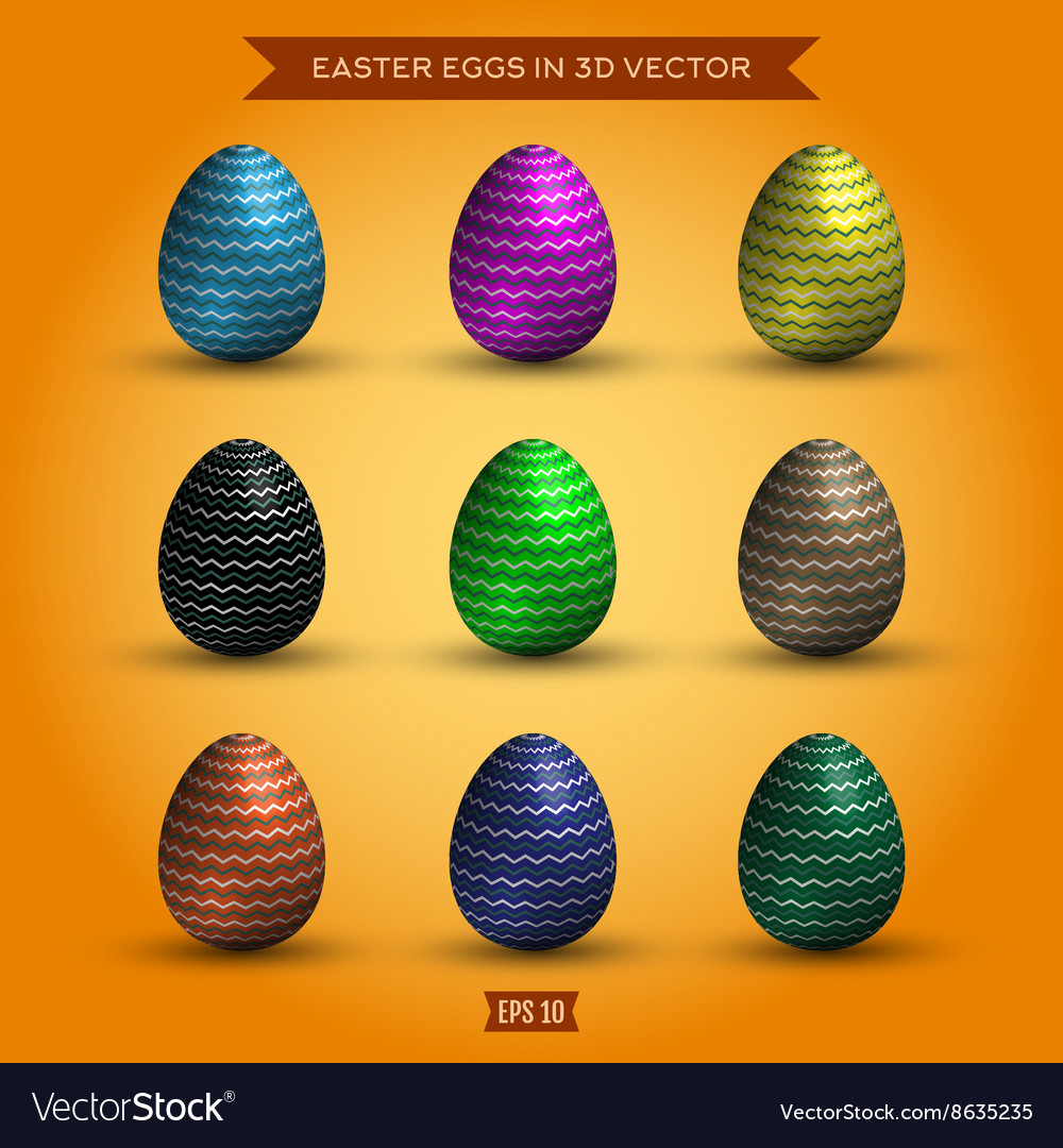 Set easter eggs colored high-quality
