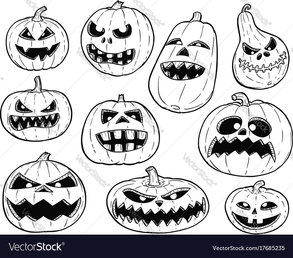Halloween Pumpkin Drawing Picture.Set Of Cute Hand Drawing Halloween Pumpkin