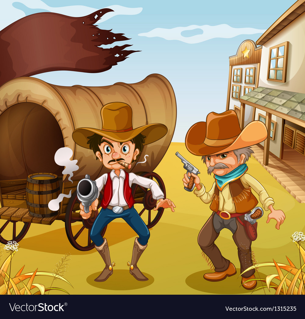 Two men holding guns with a wooden carriage at the vector image