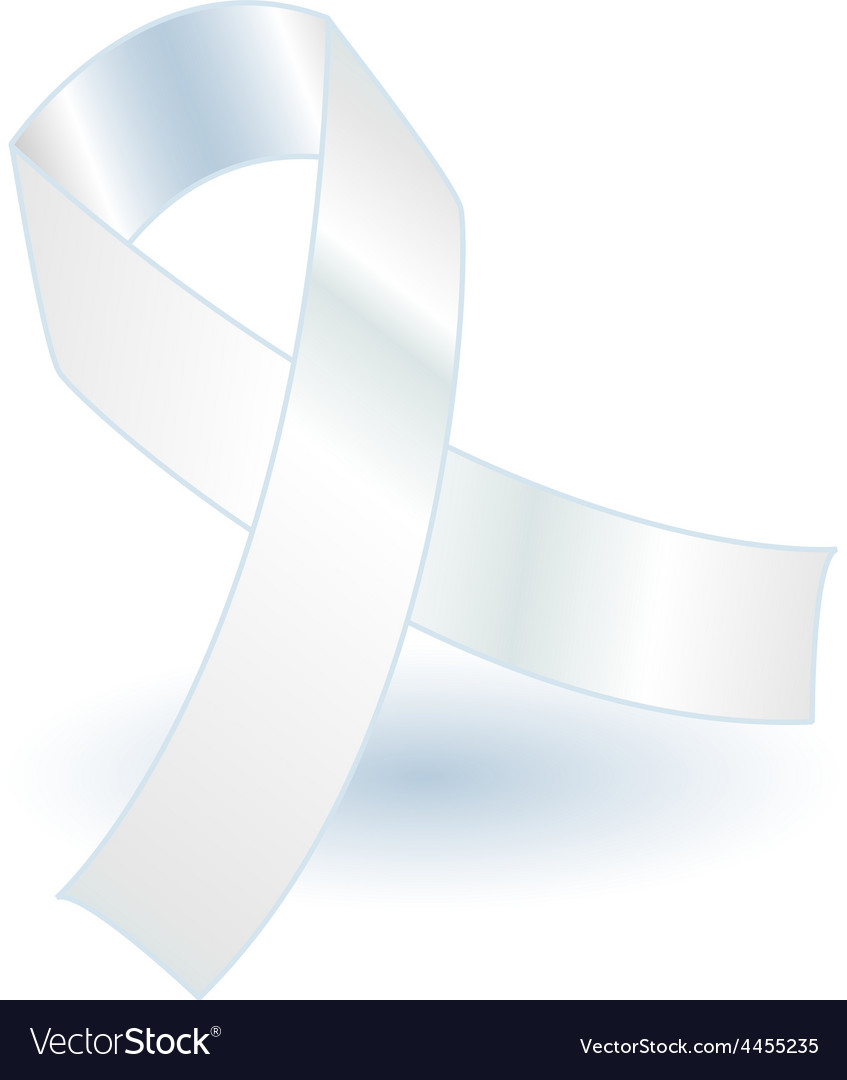 White awareness ribbon and shadow vector image