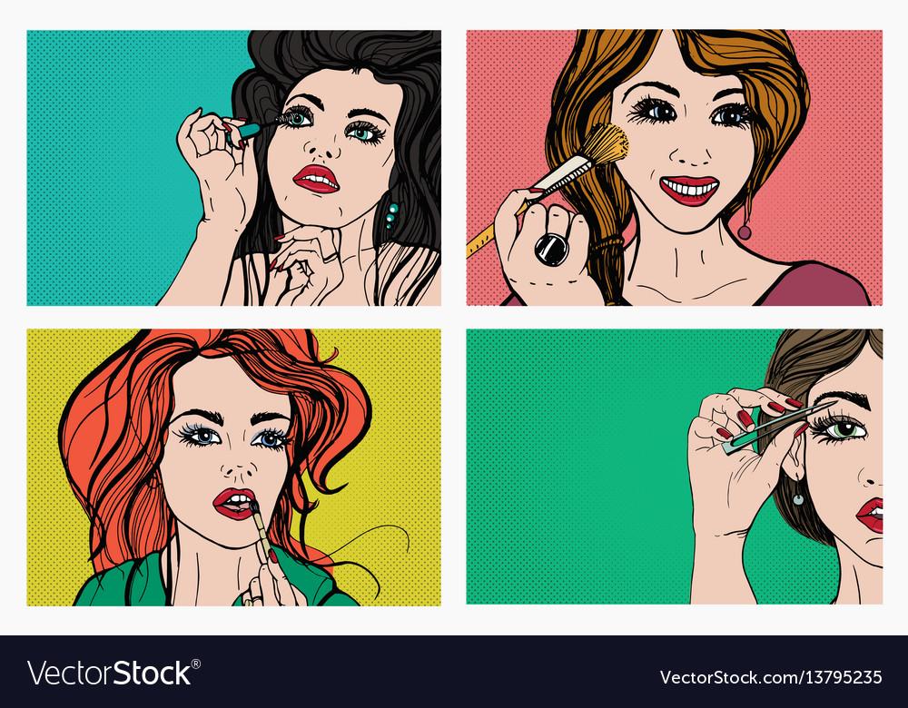 Woman doing makeup beautiful girls with cosmetics vector image