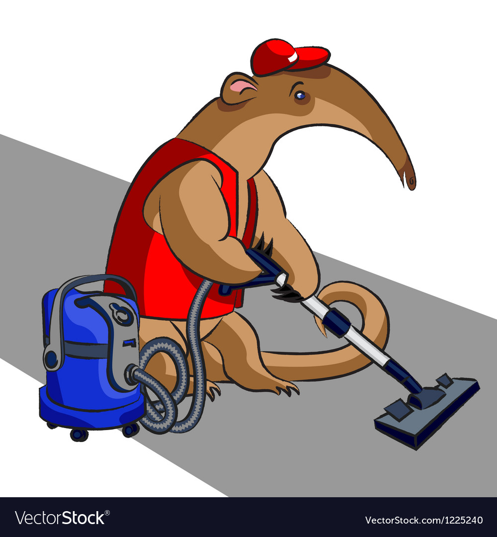 Anteater and vacuum cleaner vector image