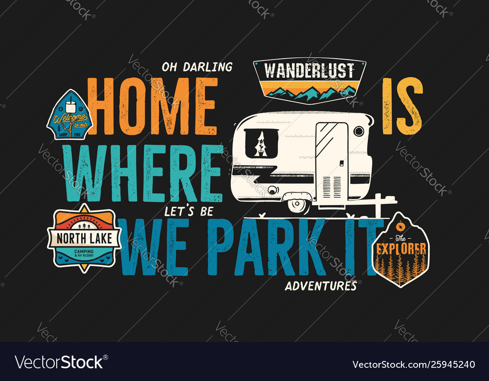 Camping badge design outdoor adventure logo with