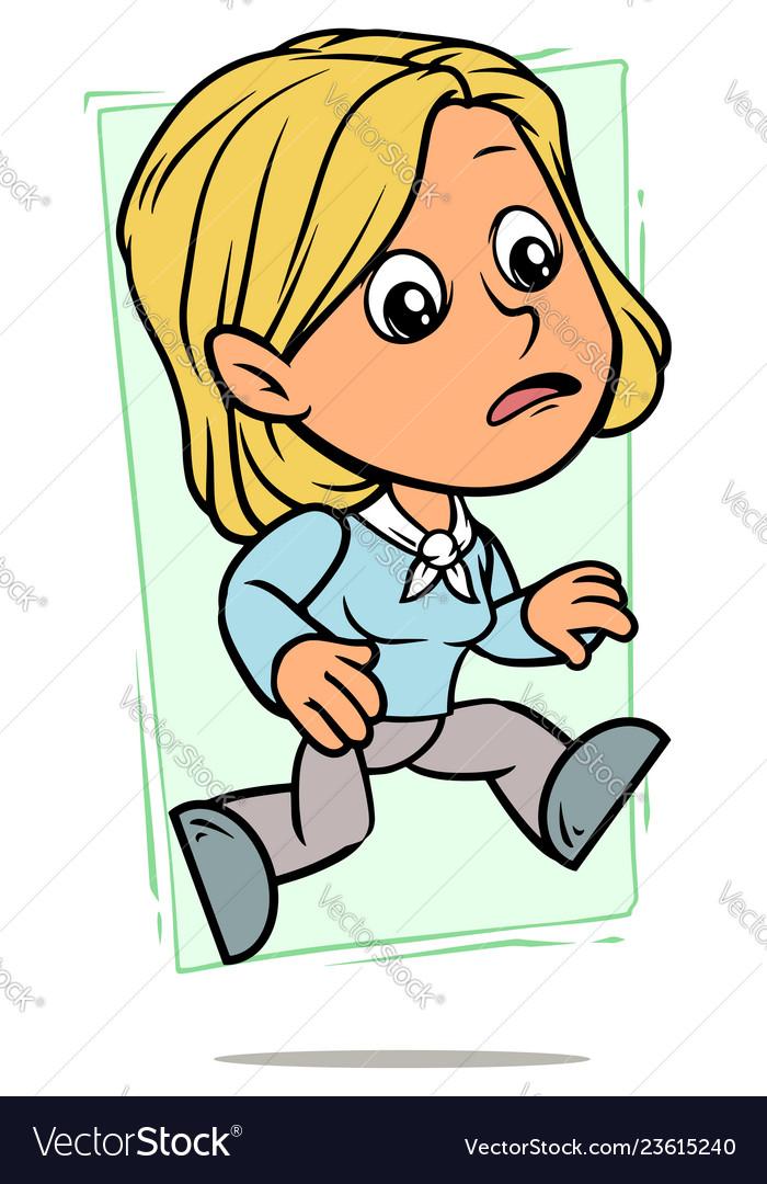 Cartoon running blonde girl character