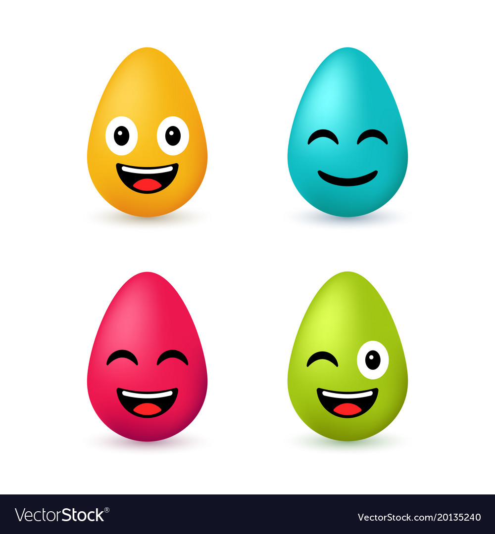 Colorful easter eggs emoji set