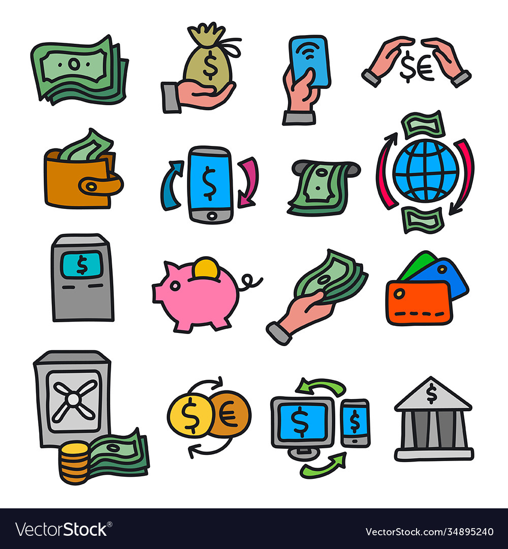 Finance and banking outline icons