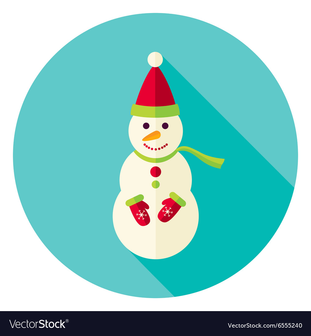 Flat Design Snowman with Scarf Circle Icon vector image