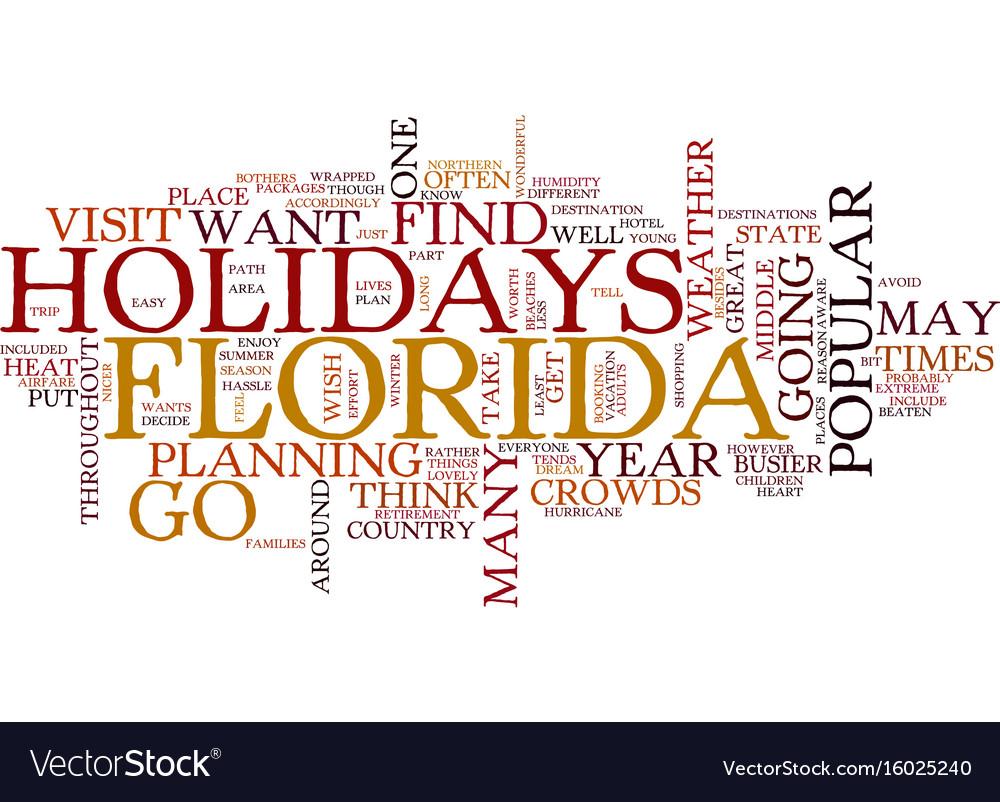 Florida holidays text background word cloud