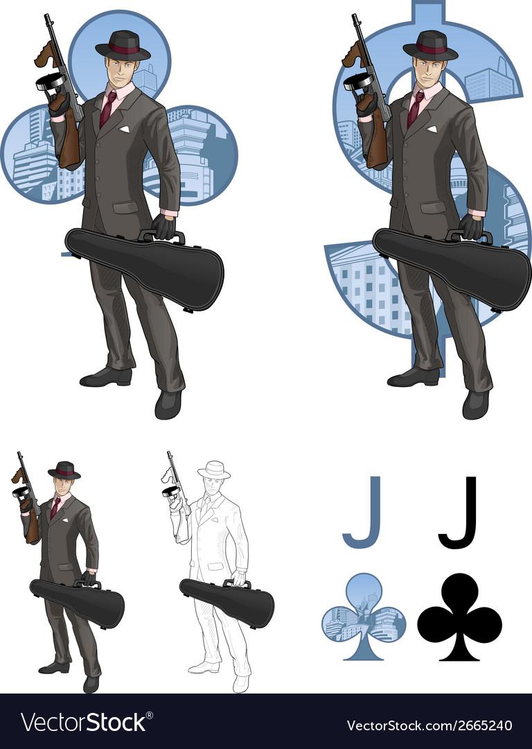 Jack of clubs mafioso with Tommy-gun Mafia card