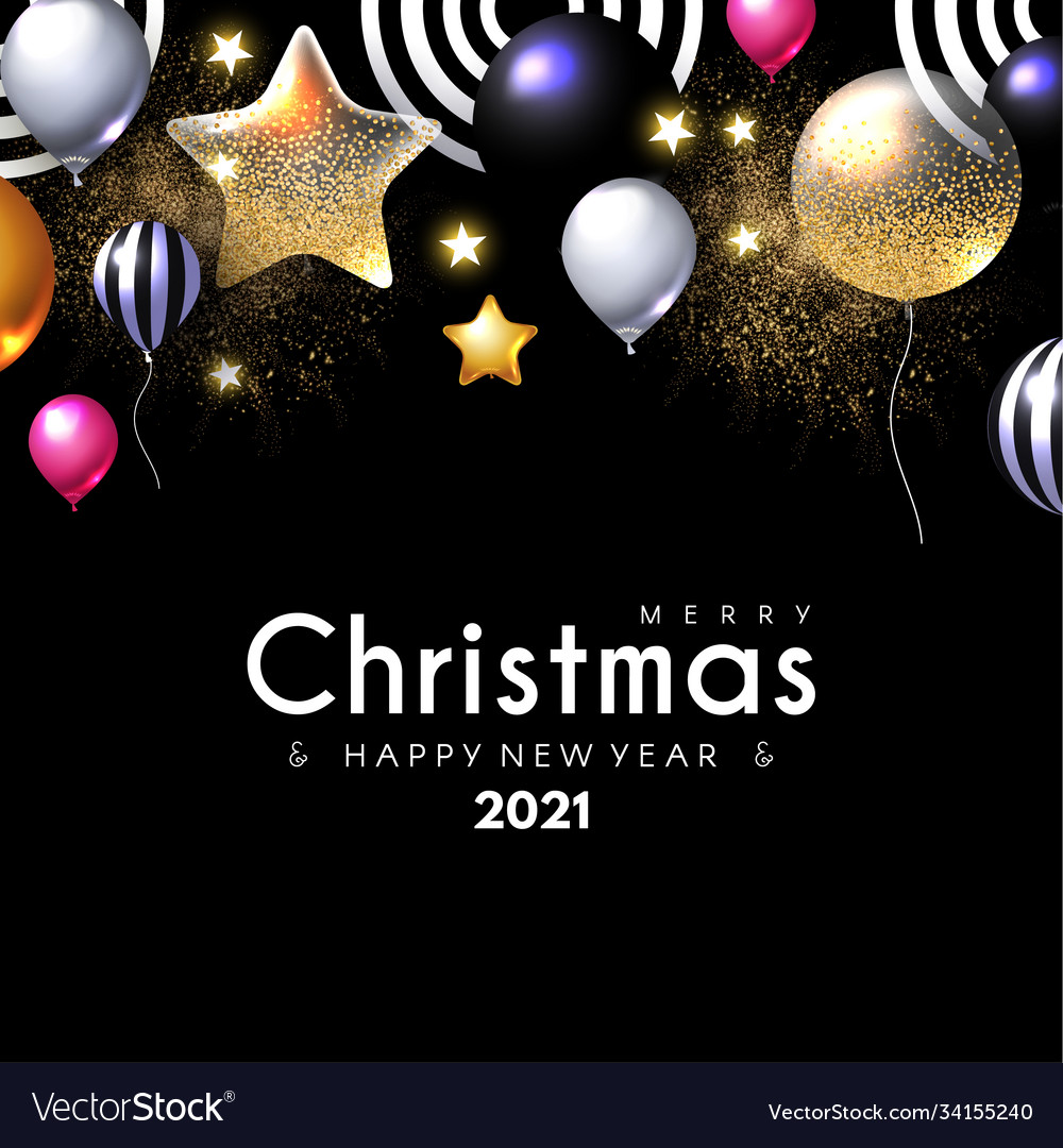 Merry christmas and happy new 2021 year shining
