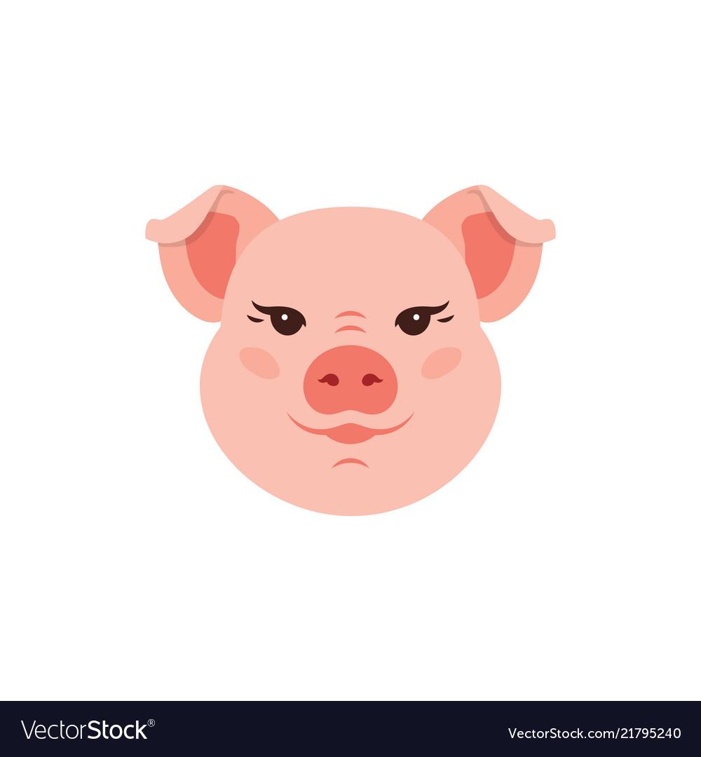 Pig icon cute piggy logo funny pink head pig