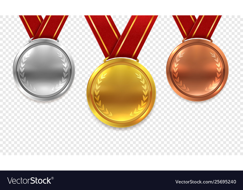 Realistic medal set gold bronze and silver medals