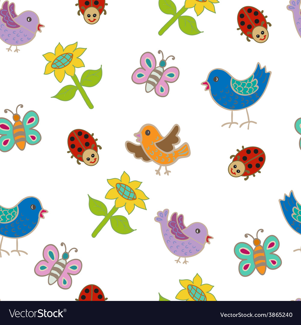 Seamless Pattern With Birds And Butterflies