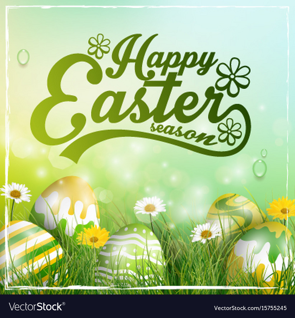Beautiful easter yellow green background