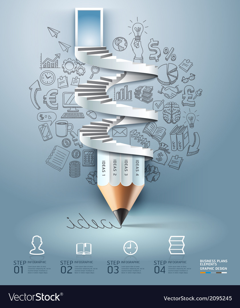 Business pencil staircase Infographics