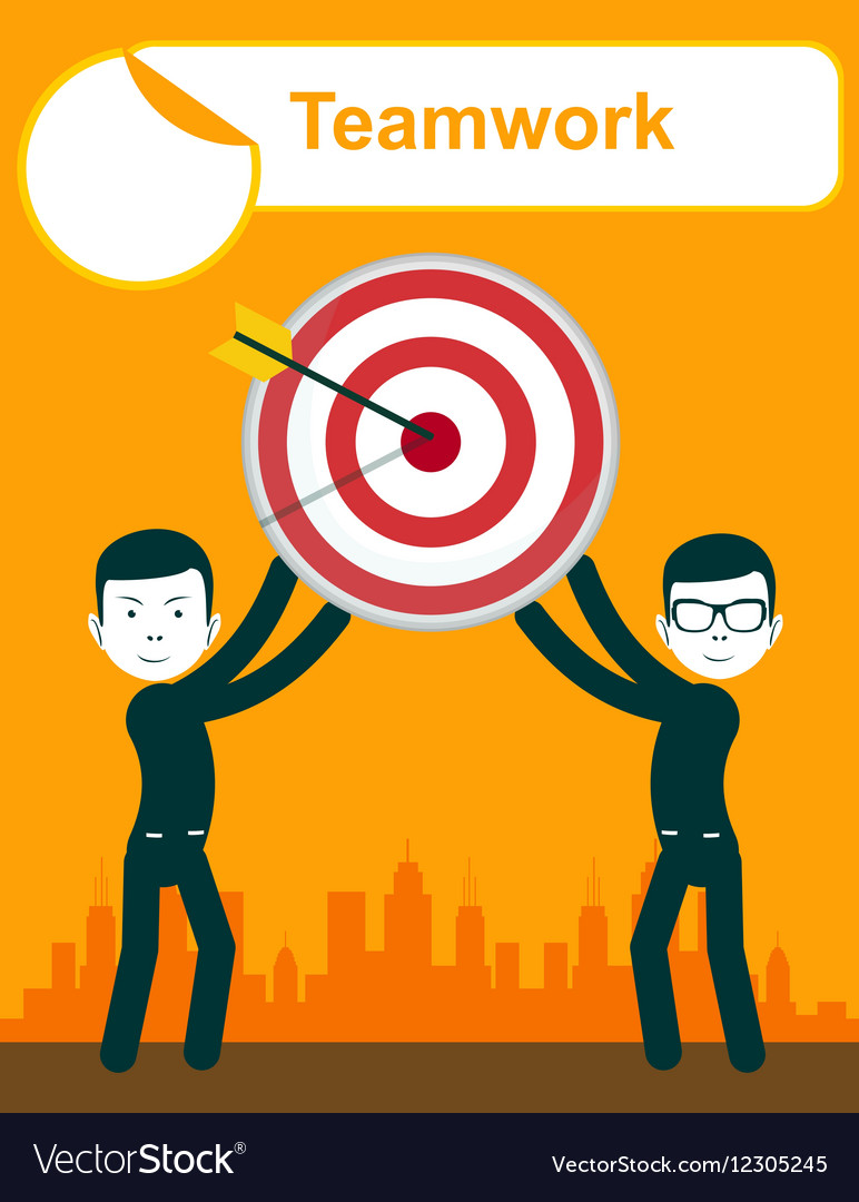 Business people holding target with arrow vector image