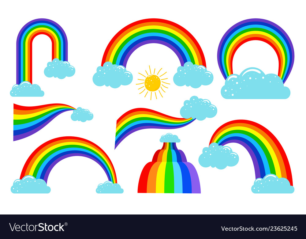 Colored rainbows with clouds collection