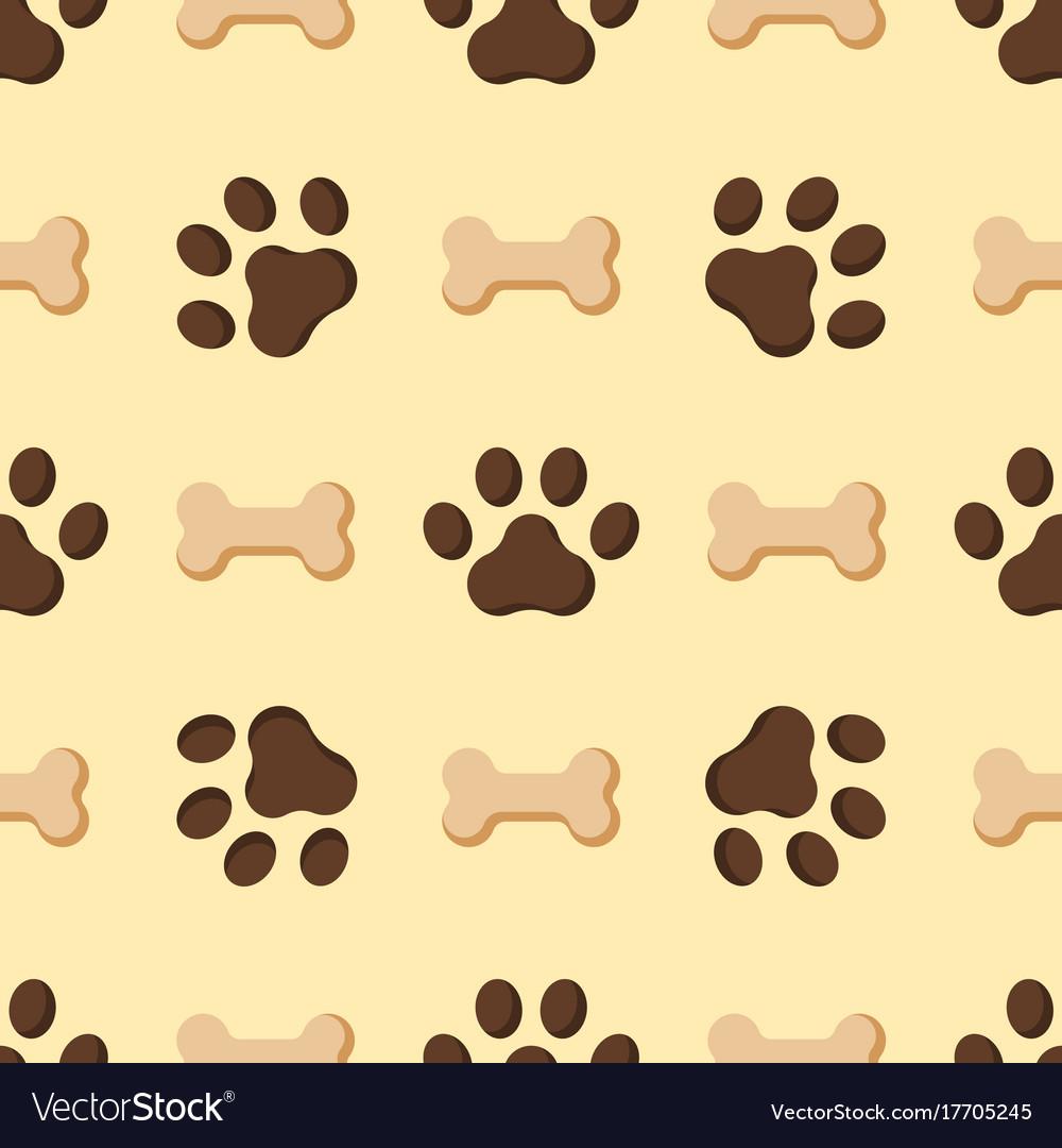 Dog or cat paw dog footprint flat seamless pattern