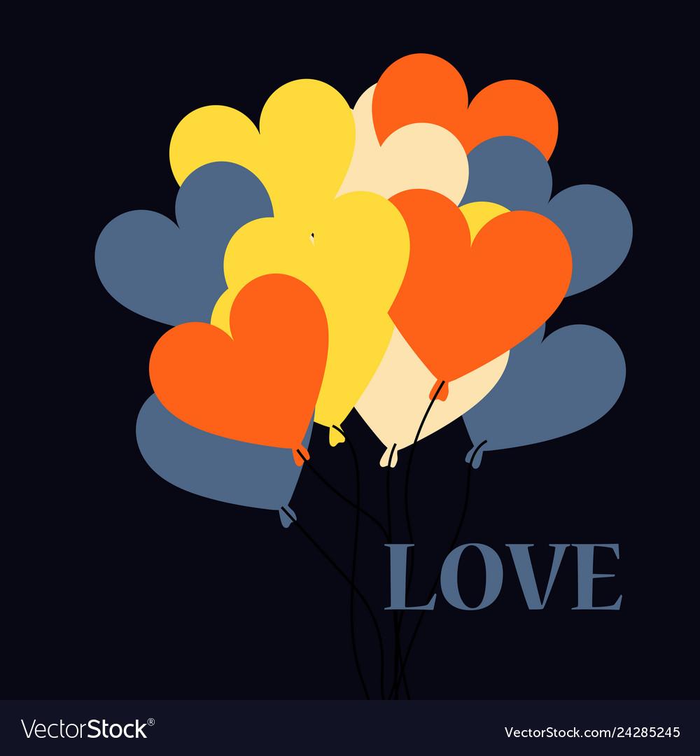 Flat design hear hot air balloon icon vector image