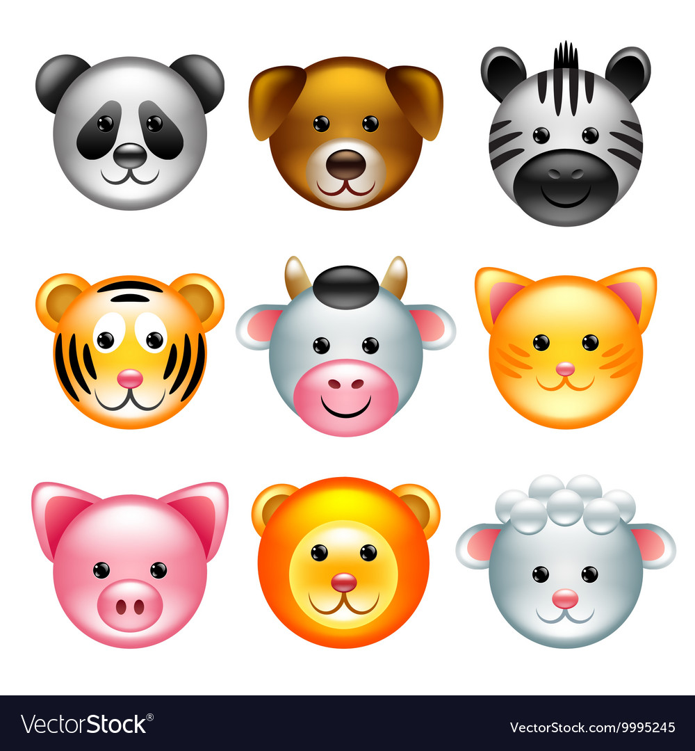 Funny animal faces icons set