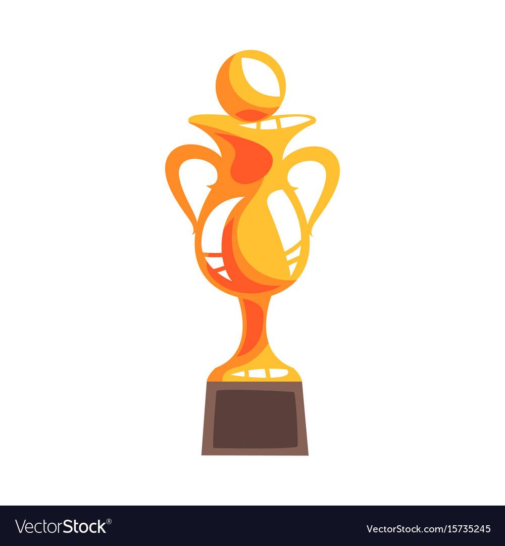 Golden winner cup with handball ball cartoon