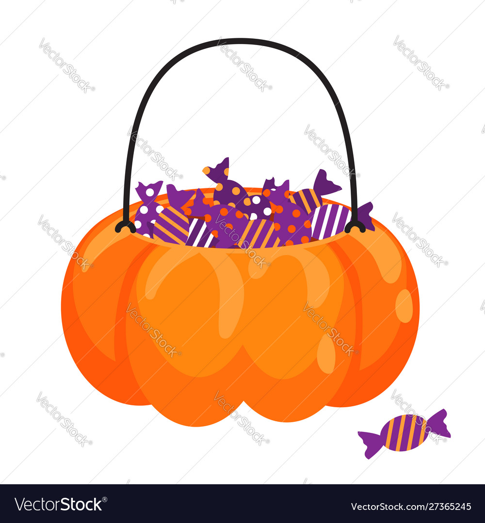 Halloween pumpkin basket full candies