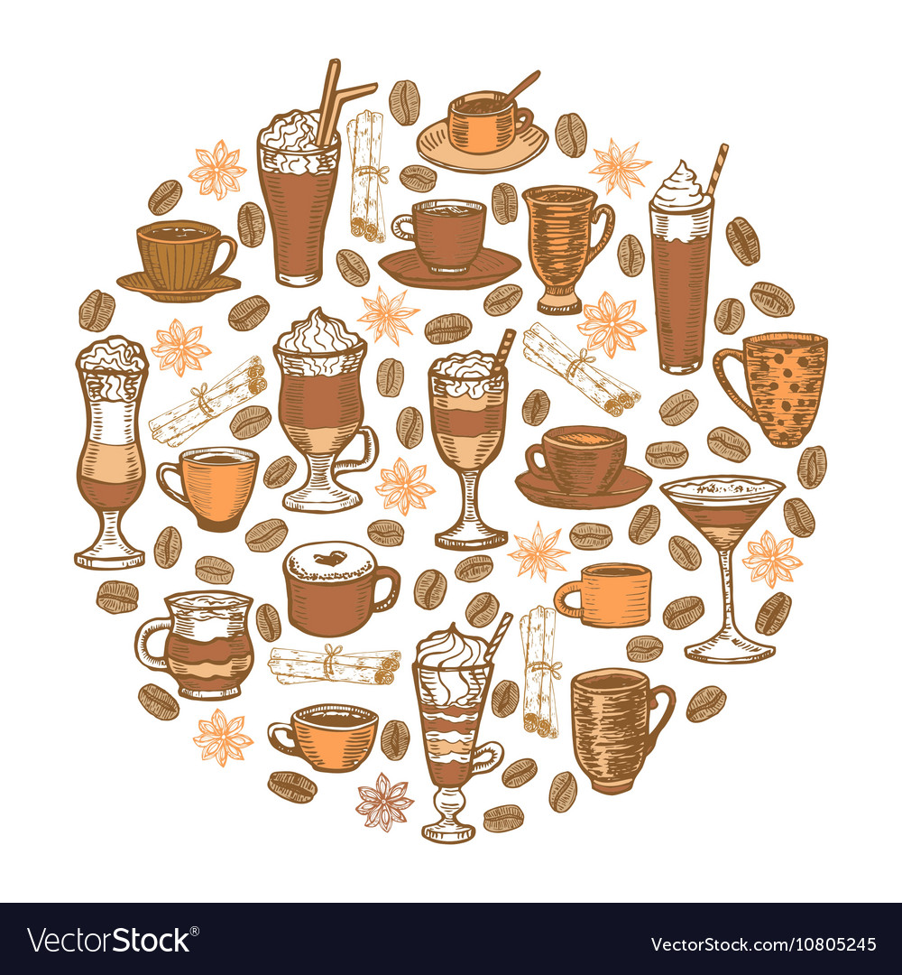 Hand drawn coffee beverages template