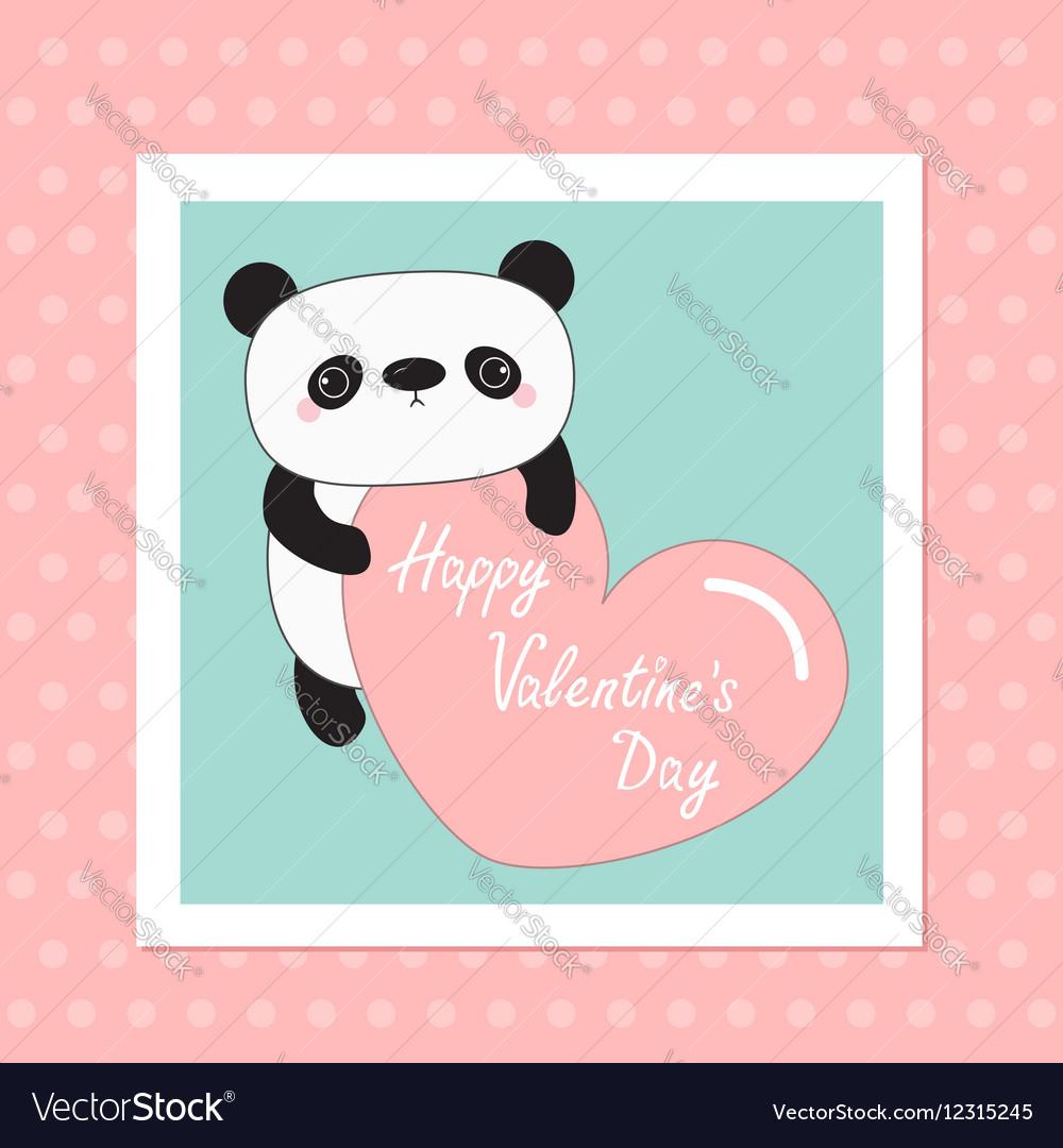 Kawaii panda baby bear Happy Valentines Day White vector image