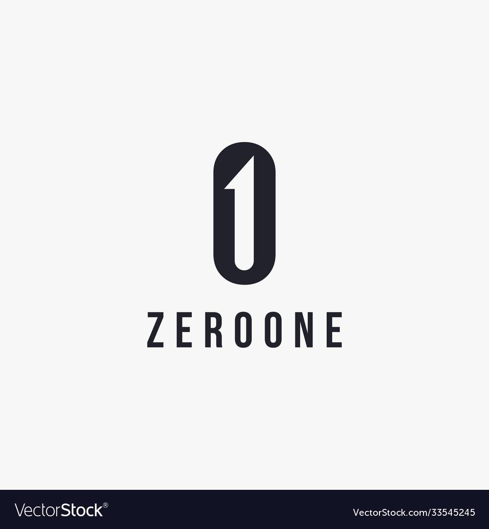 Monogram zero and one logo icon template
