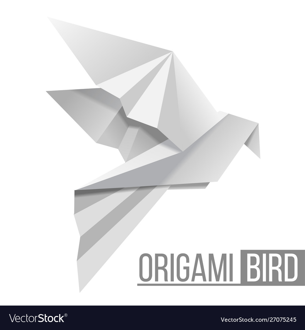 Origami paper bird flying pigeon isolated on