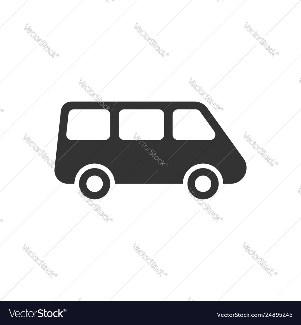 Passenger minivan sign icon in flat style car bus