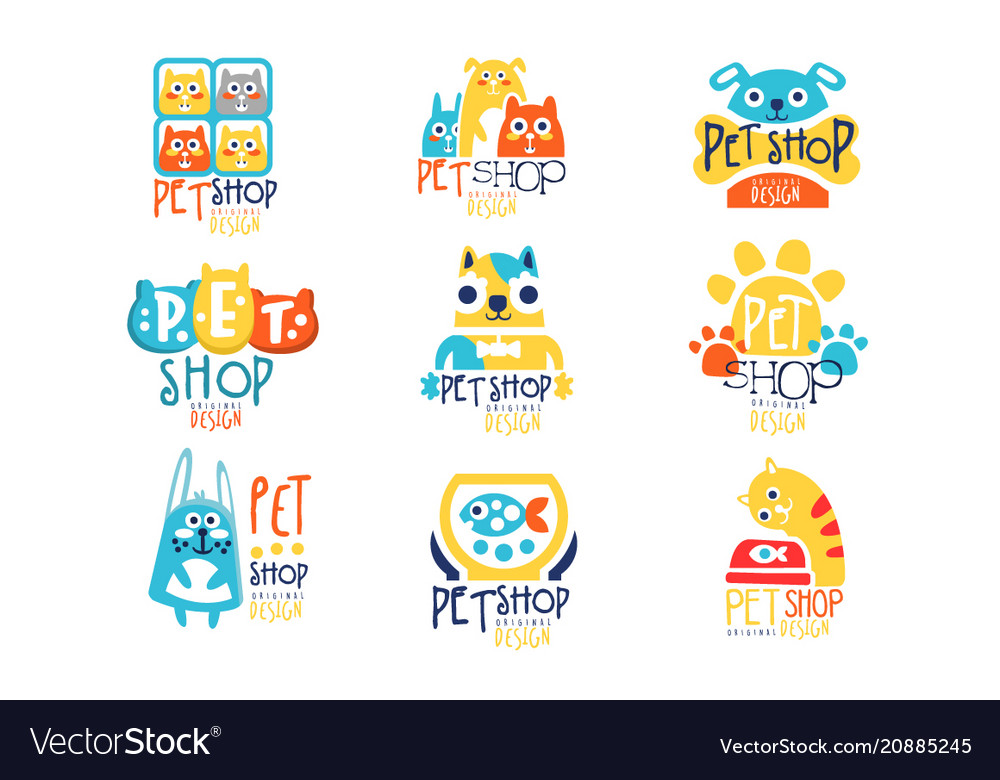 Pet shop original label design colorful hand