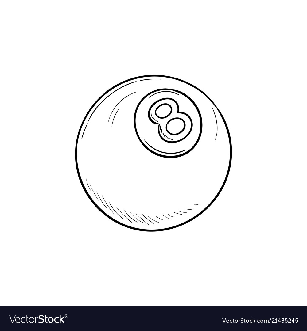 Pool eight ball hand drawn outline doodle icon