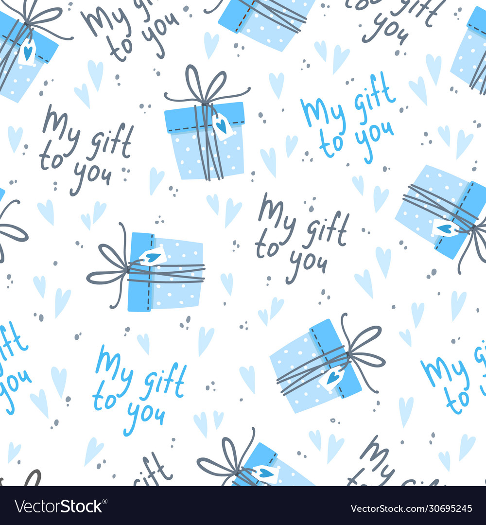 Seamless background for boy with cute gifts
