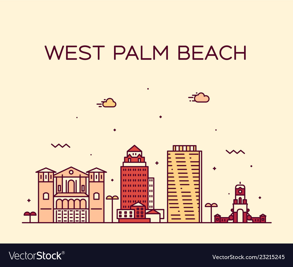 West palm beach skyline florida usa linear
