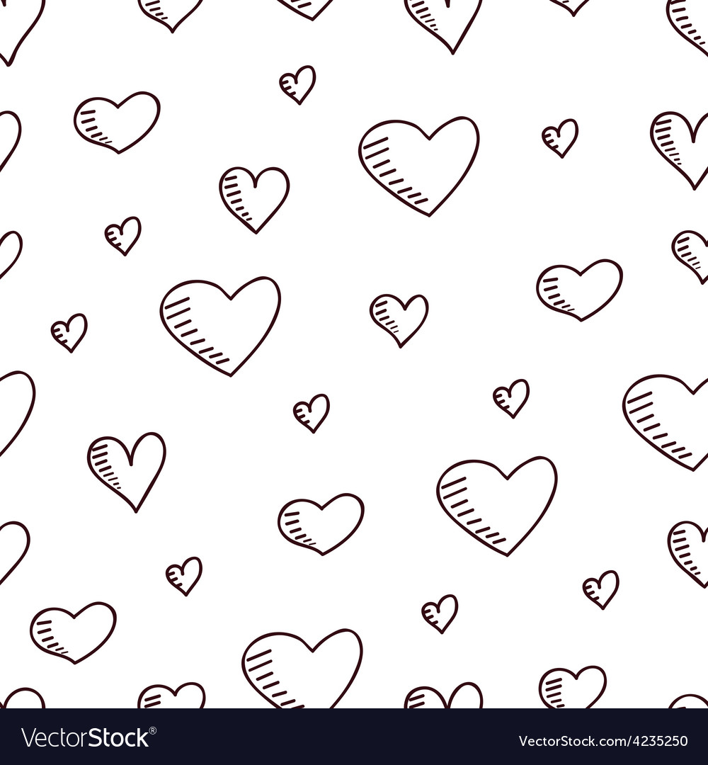 Cute hand-drawn seamless pattern with hearts