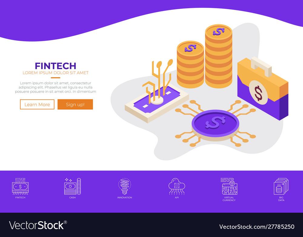 Fintech financial technology web design template