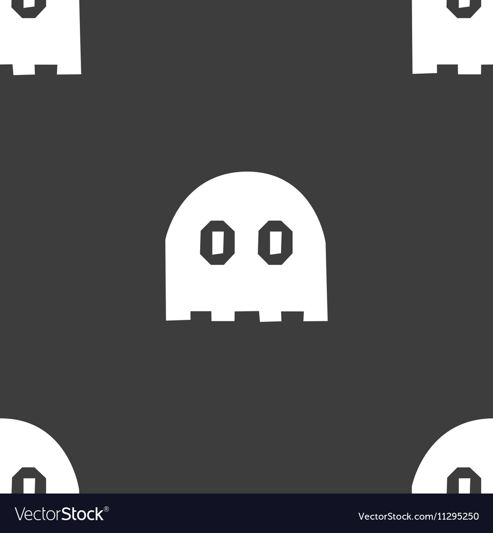 Ghost icon sign Seamless pattern on a gray