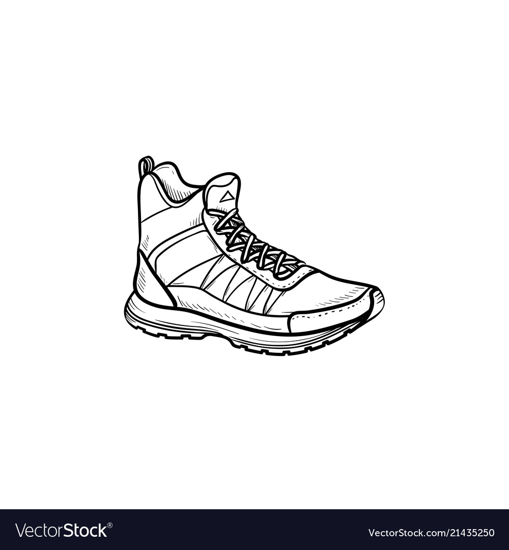 Hiking boot hand drawn outline doodle icon