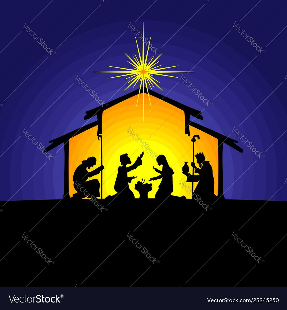 Joseph and mary at the nursery of baby jesus