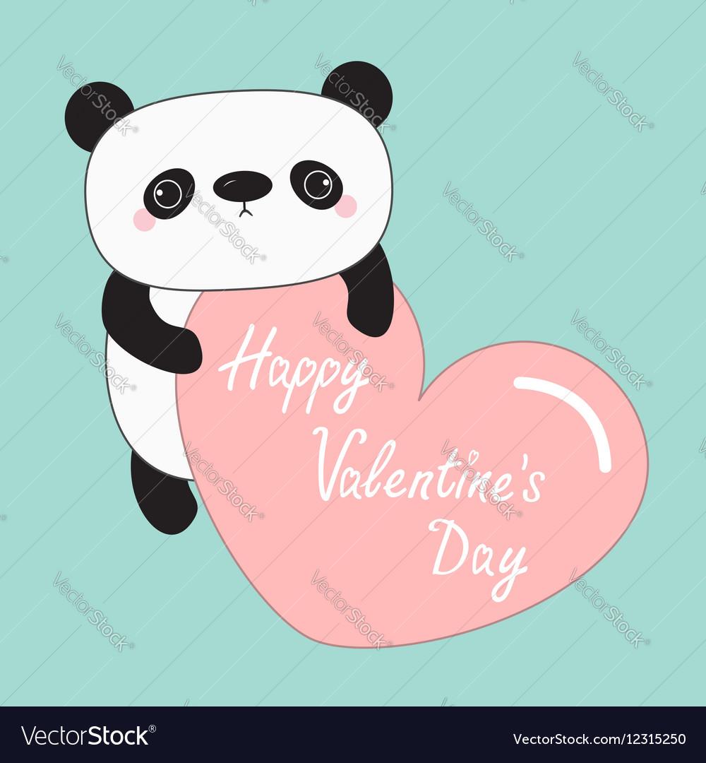 Kawaii panda baby bear happy valentines day cute vector image voltagebd Image collections