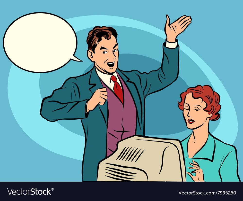 Retro businessman policies Secretary dictates the vector image