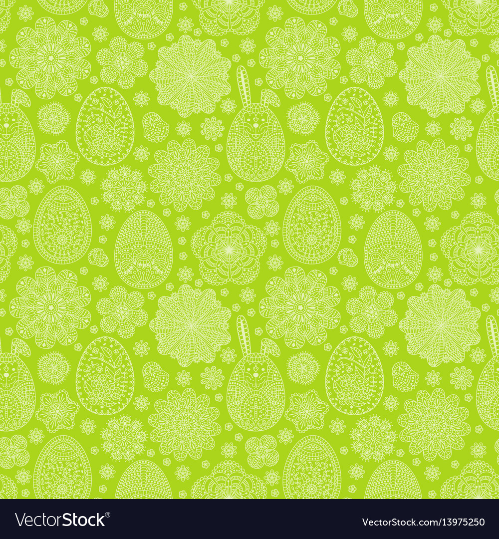 Seamless pattern with easter eggs and flowers