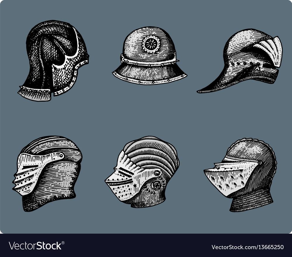 Set of medieval symbols battle helmets for knights