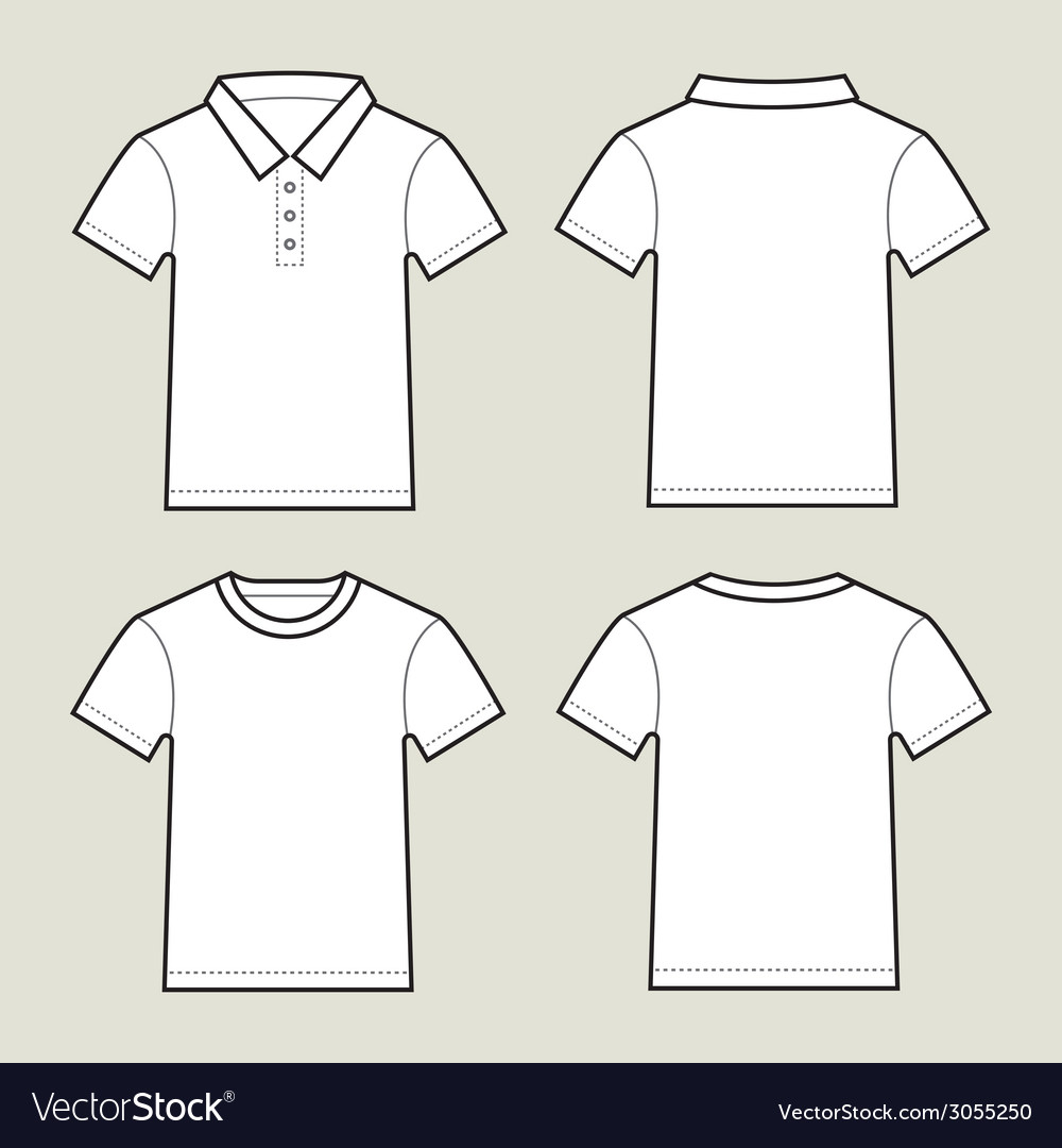 Set Of White T Shirt Templates Front And Back Vector Image