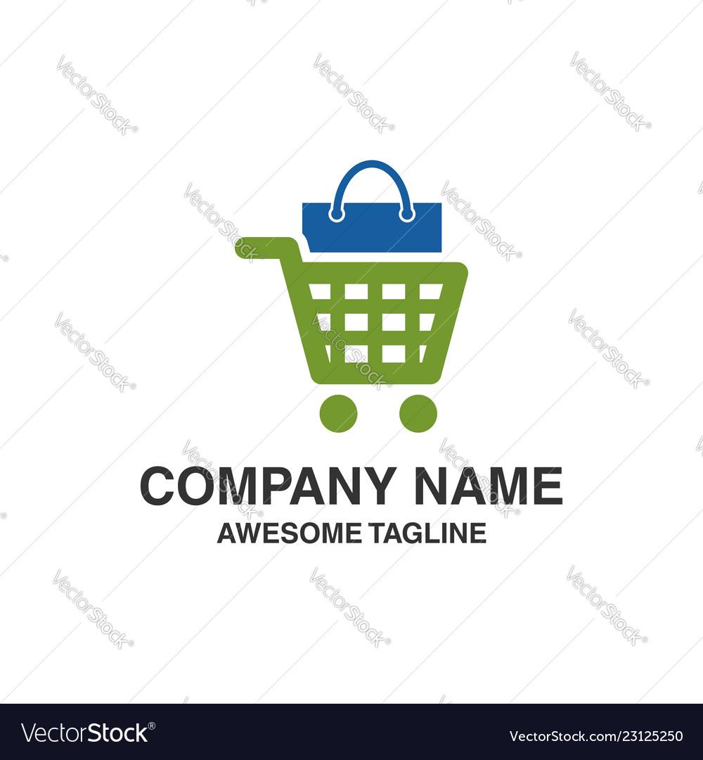 Shopping trolley with bag logo shopping logo