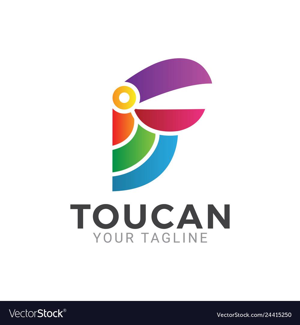 Simple toucan logo design icon