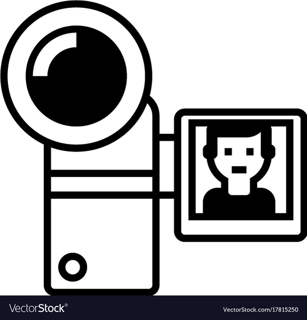 Video recording line icon sign
