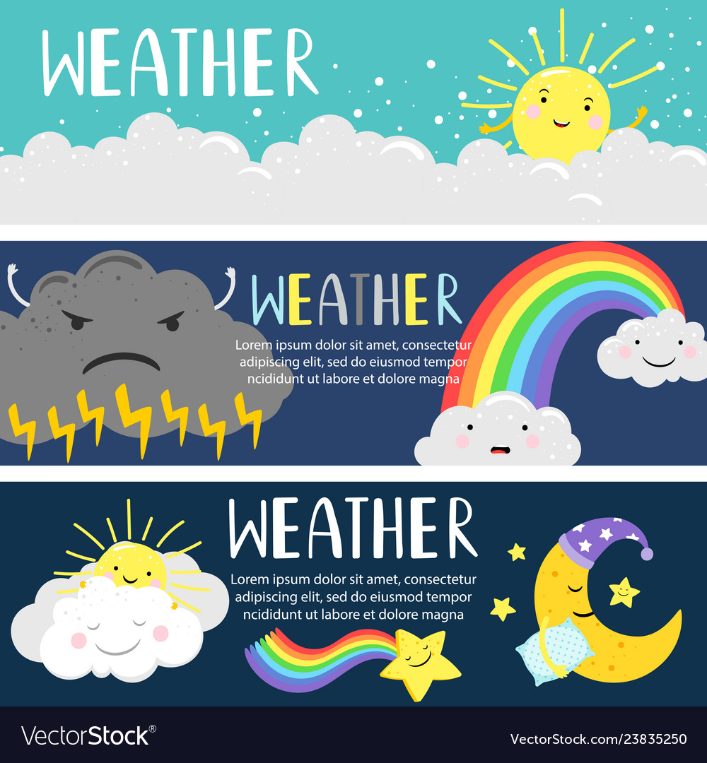 Weather banners with cute cartoon sun moon