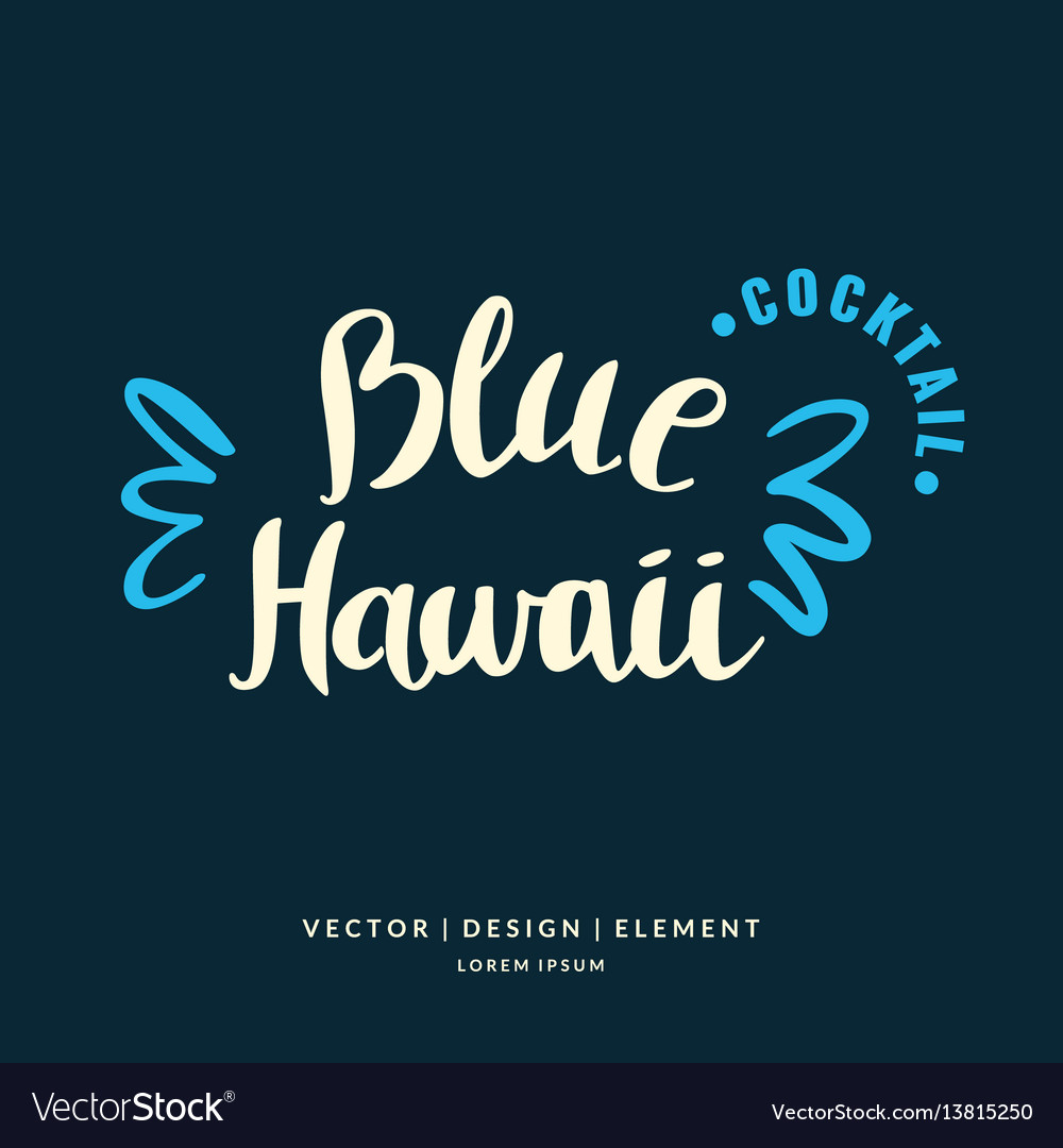 With hand drawn blue hawaii cocktail